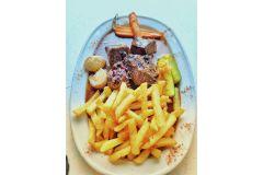 Carbonade flamande, Frites et légumes de saison